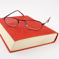 glasses with book