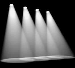 Four White Spotlights In A Row On Stage For Highlighting Product
