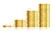 trade diagram with golden coins money vector illustration