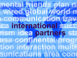 International Partners Words On Map Showing Globalization And Gl