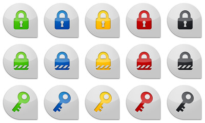 Schloss und Schlüssel glossy icons