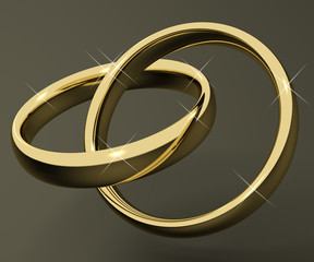 Gold Rings Representing Love Valentines And Romance