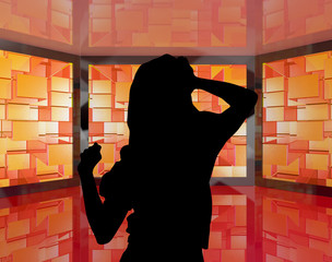 Fashionable Girl Dancing Silhouette With Monitors Showing Energe