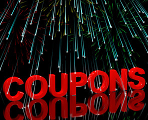 Coupons Word With Fireworks Showing Vouchers For Reductions Or D