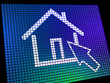 Home Symbol On Computer Monitor Showing Real Estate Or Rentals