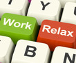 Work Relax Keys Showing Decision To Take A Break Or Start Retire