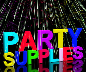 Party Supplies Words Showing Birthday Or Anniversary Celebration