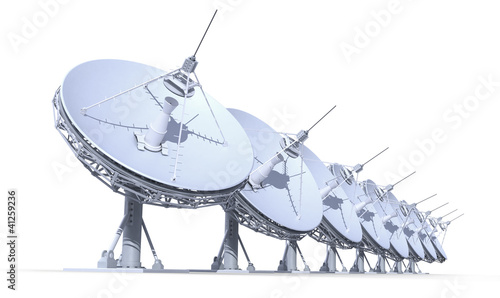 radio telescopes isolated on white background(work-path)