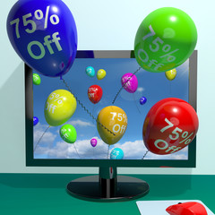 75% Off Balloons From Computer Showing Sale Discount Of Seventy
