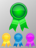 Blank award medal with ribbon. Vector illustration.
