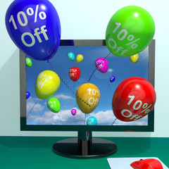10% Off Balloons From Computer Showing Sale Discount Of Ten Perc