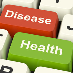 Disease And Health Computer Keys Showing Online Healthcare Or Tr