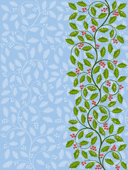 Floral pattern with ilex. Decorative background