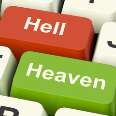 Heaven Hell Computer Keys Showing Choice Between Good And Evil O