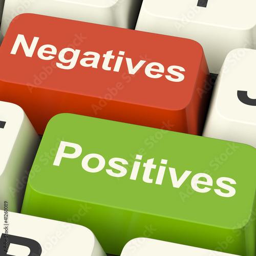 Negatives Positives Computer Keys Showing Plus And Minus Alterna