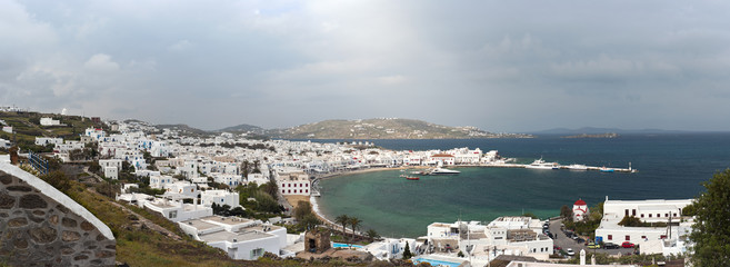 Mykonos city and port panorama