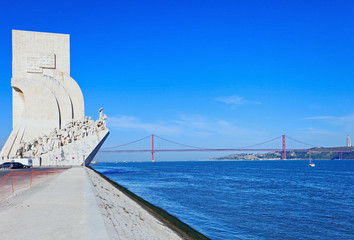 Lisbon, Monument to the Discoveries, 25th April Bridge, Tagus ri