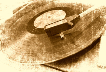 Music background, vinyl player, grunge illustration
