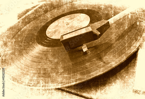 Sticker Music background, vinyl player, grunge illustration