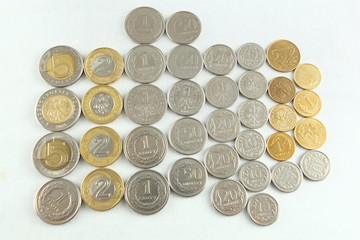Collection of polish zloty coins. Polish currency.