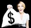 Euphoric business woman holding unexpected windfall