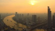 Time Lapse Bangkok at Sunset. Pan movement.