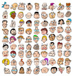 People face expression doodle cartoon icons