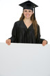 Happy graduation student woman holding blank billboard