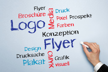 Logo und Flyer Tag Cloud