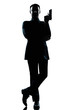 silhouette man full length secret agent in a james bond posture