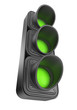 Green traffic lights 3d. Movement road control. Isolated on whit