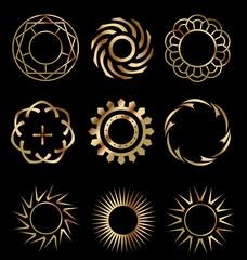 Gold circle design elements 1