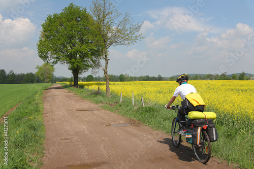 Cyclist in a countryside