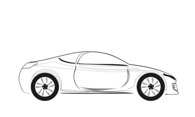 American vector car sketch