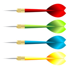 Darts with different colors over white background