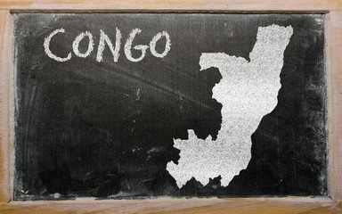 outline map of congo on blackboard