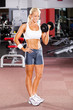 fitness woman using dumbbell in gym