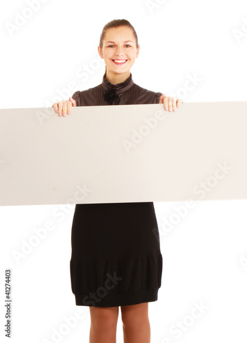 A young girl with a blank isolated on white background