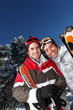 Portrait of two men at ski resort
