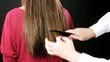 Hairdresser combing long wet hair