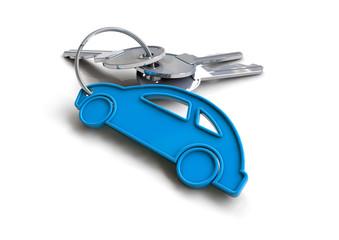 Key with blue car keyring