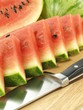 Watermelon cut in triangles, close-up