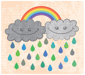 Two happy rain clouds with rainbow