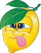 Cute lemon fruit character pulling a funny face