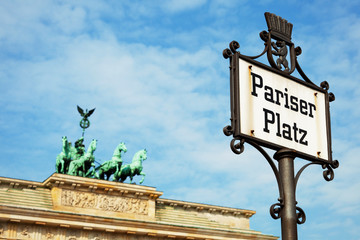 Pariser Platz Sign and Brandenburg Gate, Berlin