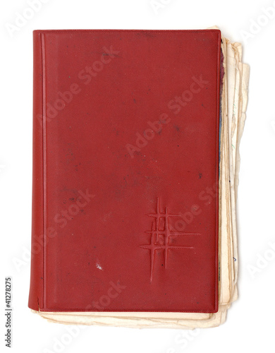 old dirty red notebook