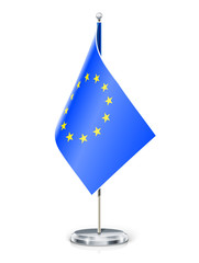 European Union's flag on flagstaff and support vector