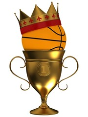 Basketball ball with a crown and cup