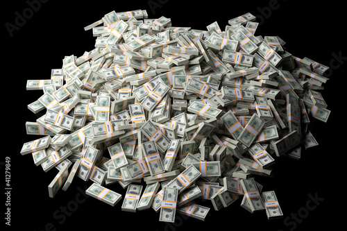 huge pile of American money on black background