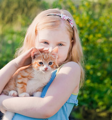 smile girl with cat outdoor